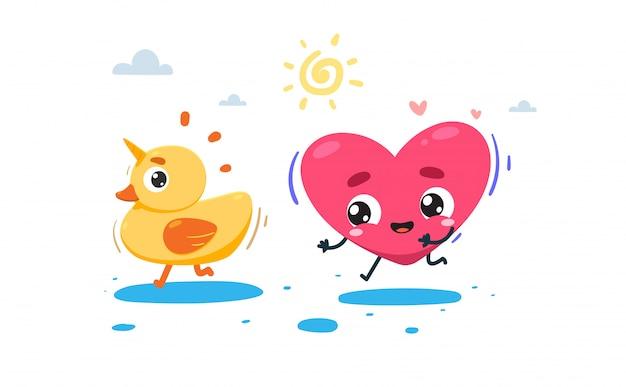 Le cœur poursuit un canard avec la corne