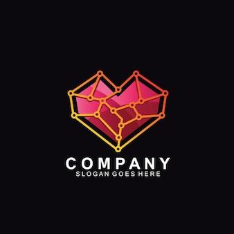 Coeur avec réseau web pour la conception de logo de technologie
