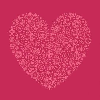 Coeur rose faite avec des fleurs