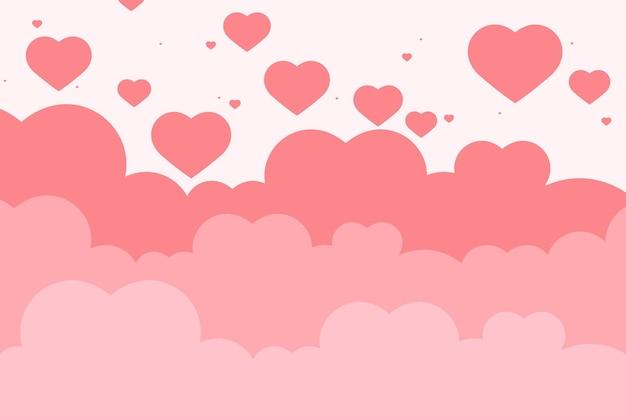 Coeur rose fond nuage motif