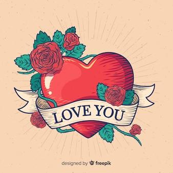 Coeur avec des roses