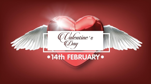 Coeur rouge avec des ailes illustration vectorielle bannière d'invitation de carte postale de citation romantique