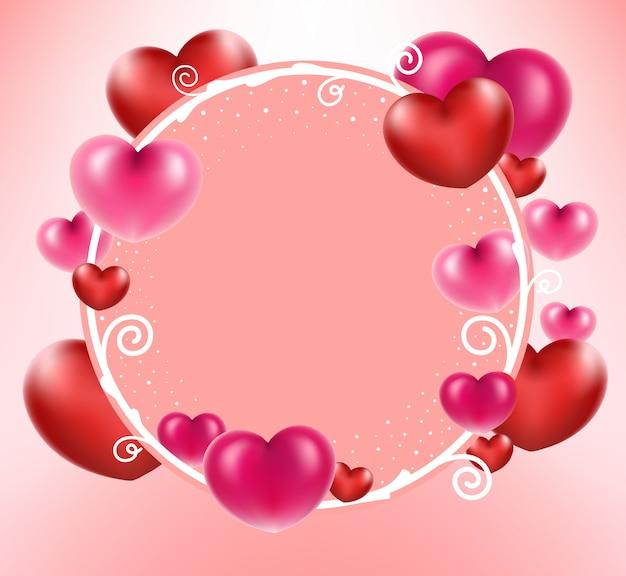 Coeur rouge avec cadre de cercle sur fond rose.