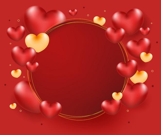 Coeur rouge avec cadre cercle sur fond rouge.