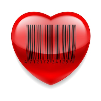 Coeur rouge avec code-barres