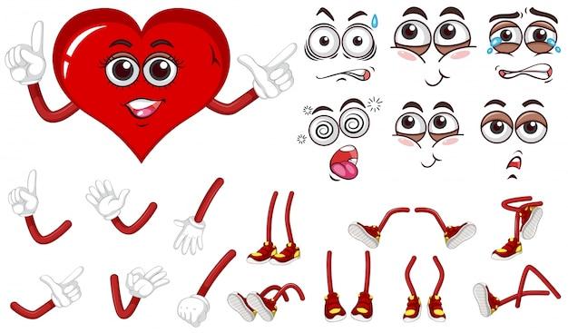 Coeur rouge avec différentes expressions définies