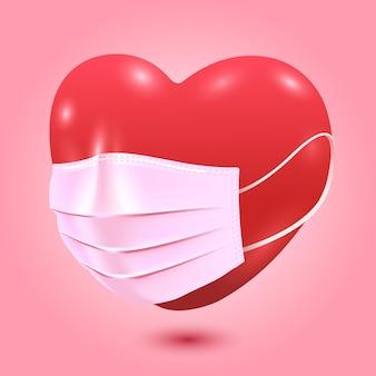 Coeur rouge avec masque médical, fond d'illustration