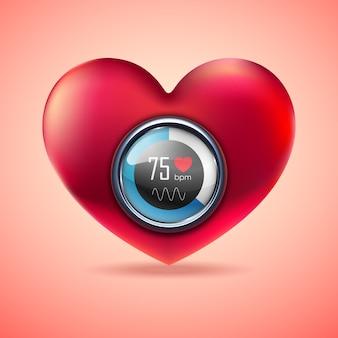Coeur rouge avec moniteur de fonction d'électrocardiogramme