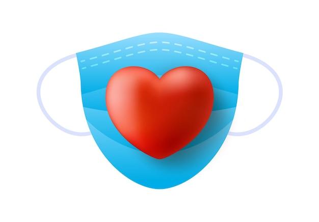 Coeur rouge réaliste mignon dans un masque médical bleu