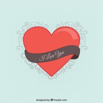 Coeur rouge avec un ruban