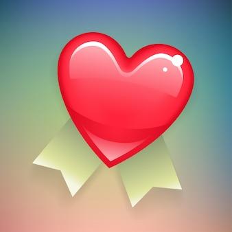 Coeur rouge avec des rubans