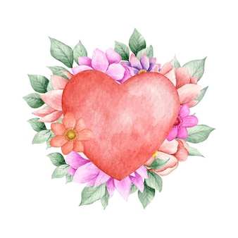 Coeur rouge de la saint-valentin avec des éléments floraux