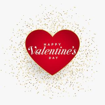 Coeur rouge saint valentin avec des particules de paillettes