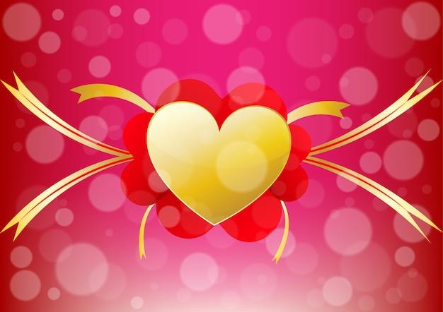 Coeur et ruban alignent le centre d'un fond de jour de la saint-valentin