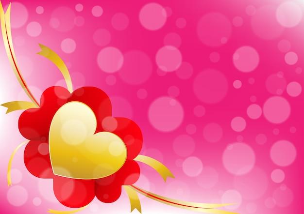 Coeur et ruban sur fond de couleur rose
