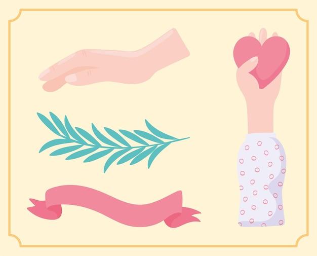 Coeur et ruban de main