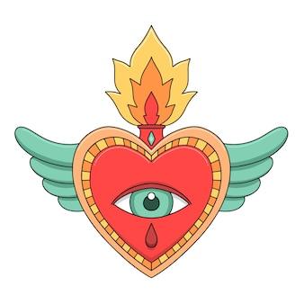 Coeur sacré dessiné à la main