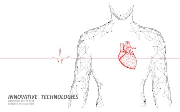 Coeur sain silhouette homme bat modèle de médecine 3d low poly.