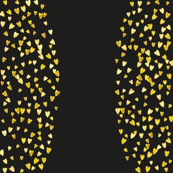 Le coeur de la saint-valentin avec des paillettes d'or scintille. jour du 14 février. confettis de vecteur pour le modèle de coeur de saint valentin. grunge texture dessinée à la main. thème d'amour pour l'invitation à la fête, l'offre de vente au détail et la publicité.