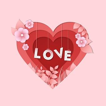 Coeur De Saint Valentin En Style Papier Vecteur Premium