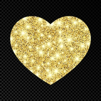 Coeur scintillant d'or sur fond transparent foncé. fond avec des étincelles d'or et un effet scintillant. illustration vectorielle