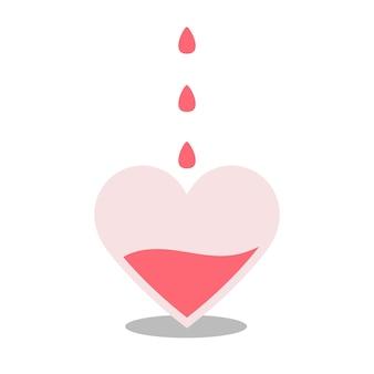 Le cœur se remplit de sang. les gouttes tombent. le concept de don de sang. laboratoire médical, assistance, traitement, donneur, volontaire. facteur rh. illustration vectorielle à plat sur fond blanc