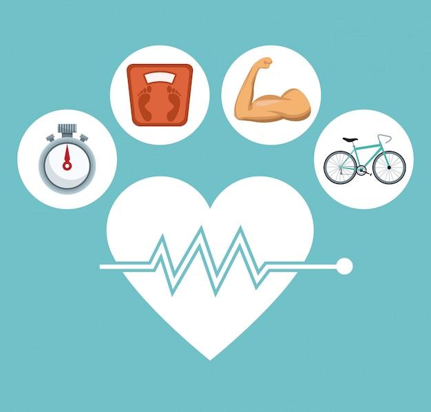 Coeur de la silhouette battre avec des icônes cadre circulaire en bonne santé