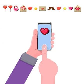 Coeur sur un smartphone à la main