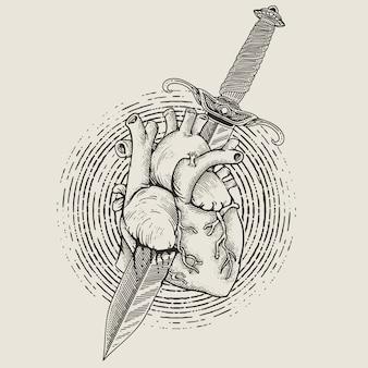Coeur avec style de gravure de poignard