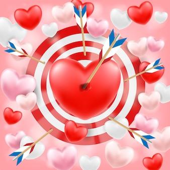 Coeur tiré par un vecteur de flèche d'arc
