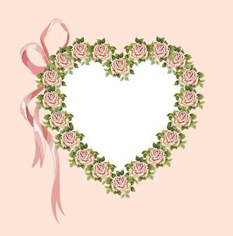 Coeur de vecteur fait de fleurs victoriennes et arc rose