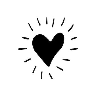 Coeur de vecteur de griffonnage simple pour les cartes, les affiches, l'emballage et le design de la saint-valentin. coeur dessiné à la main, isolé sur fond blanc. forme géométrique, symbole de l'illustration de la saint-valentin.