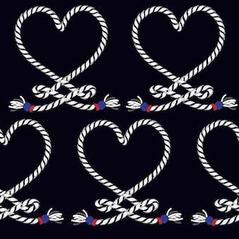 Coeur de vecteur modèle sans couture de noeud de corde marine.