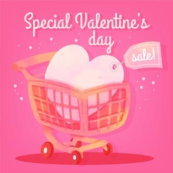 Coeur vente aquarelle valentine avec étiquette de prix