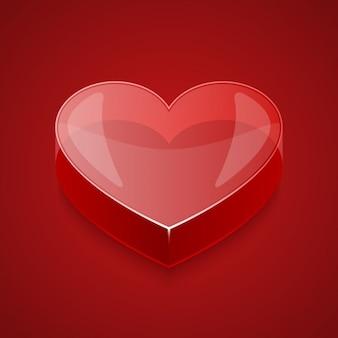 Coeur en verre dans le style 3d