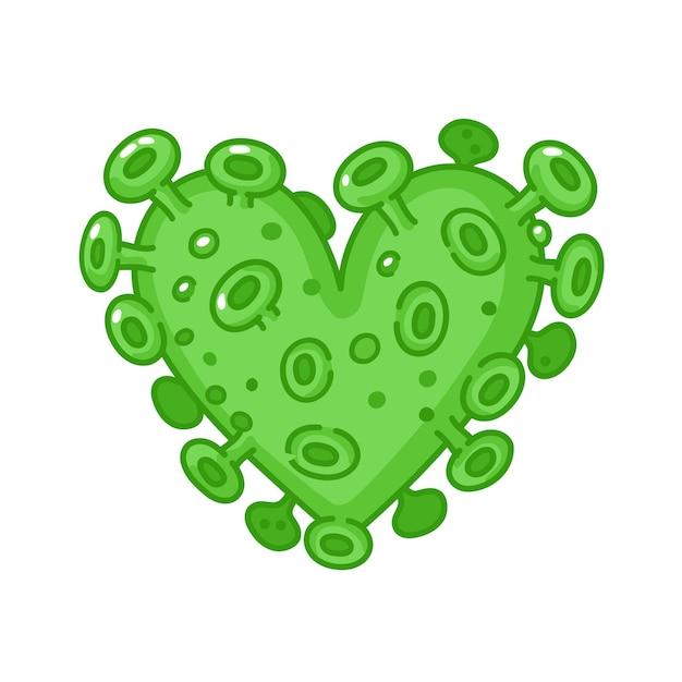 Coeur de virus corona isolé sur blanc