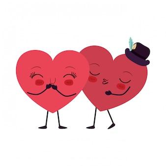 Coeurs aiment le caractère kawaii