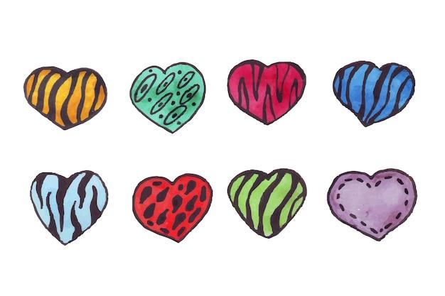 Coeurs d'aquarelle coeurs avec un contour noir dessiné à la main