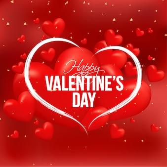Coeurs brillants décorés en arrière-plan rouge avec lettrage élégant o