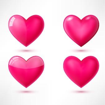 Coeurs brillants à la mode avec des ombres isolés sur fond blanc. pour site web, carte de voeux et saint valentin