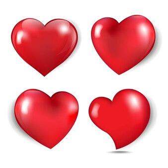 Coeurs colorés isolés sur fond blanc avec filet de dégradé, illustration vectorielle.