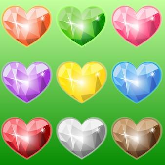 Coeurs en cristal colorés définis actifs de jeu de vecteur de dessin animé