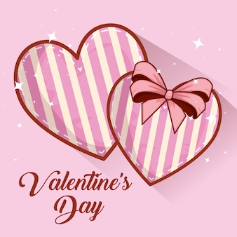 Coeurs avec décoration de ruban à la saint valentin