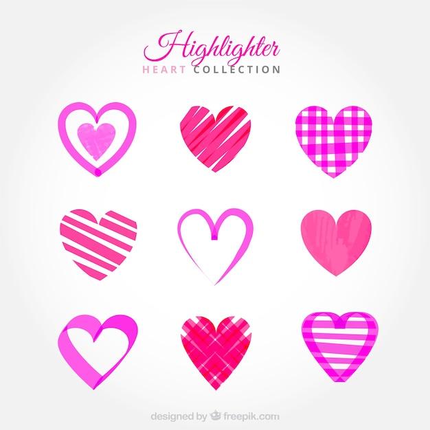 Coeurs dessinés avec surligneur