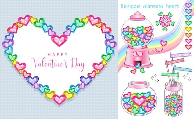 Coeurs de diamants colorés le jour de la saint-valentin
