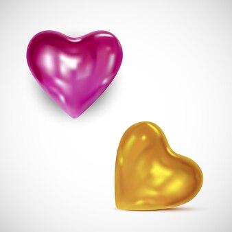 Coeurs dorés et roses brillants -