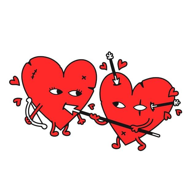 Les coeurs drôles se battent. icône d'illustration de dessin animé doodle dessinés à la main de vecteur. isolé sur fond blanc. combat, guerre, amour, impression de dessin animé de coeurs pour t-shirt, affiche, concept de carte