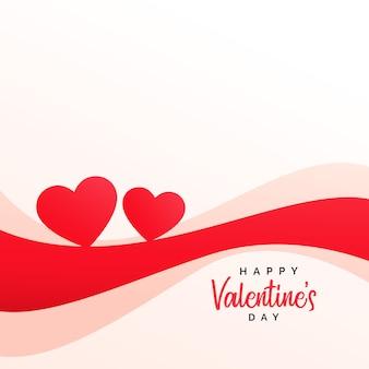 Coeurs élégants et fond de vague pour la saint-valentin