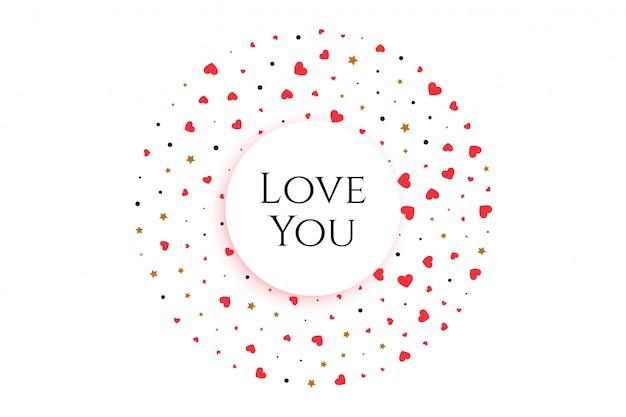 Coeurs élégants en forme circulaire avec message vous aime