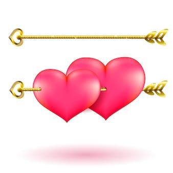 Coeurs et flèche d'or de la saint-valentin.